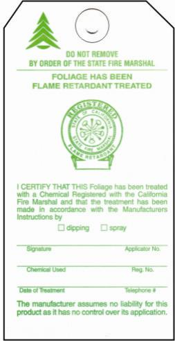 Christmas tree fire retardant tag